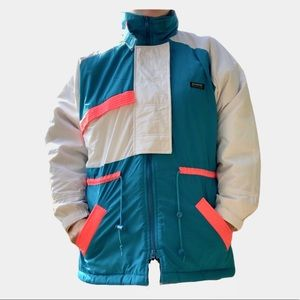 Vintage 90s colorblock ski jacket neon coat parka